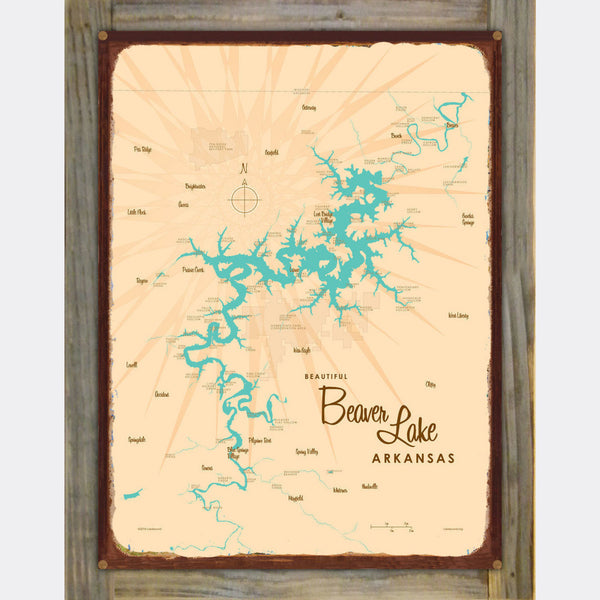 Beaver Lake Arkansas, Wood-Mounted Rustic Metal Sign Map Art
