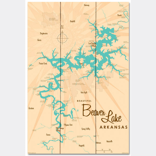 Beaver Lake Arkansas, Wood Sign Map Art