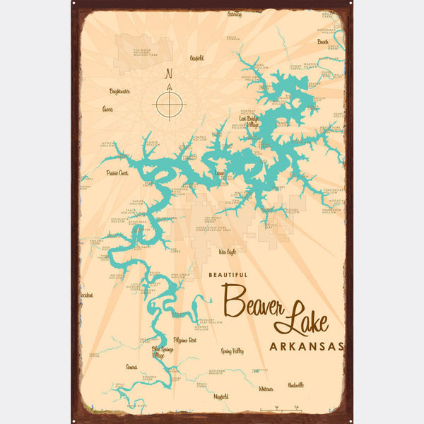 Beaver Lake Arkansas, Rustic Metal Sign Map Art