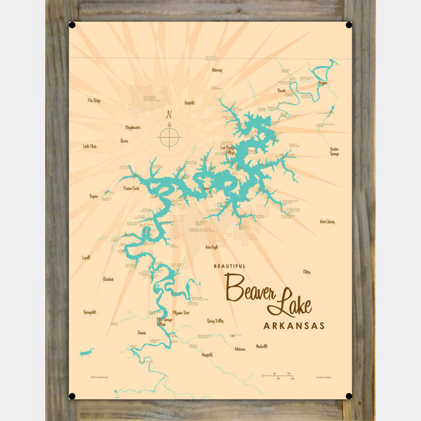 Beaver Lake Arkansas, Wood-Mounted Metal Sign Map Art