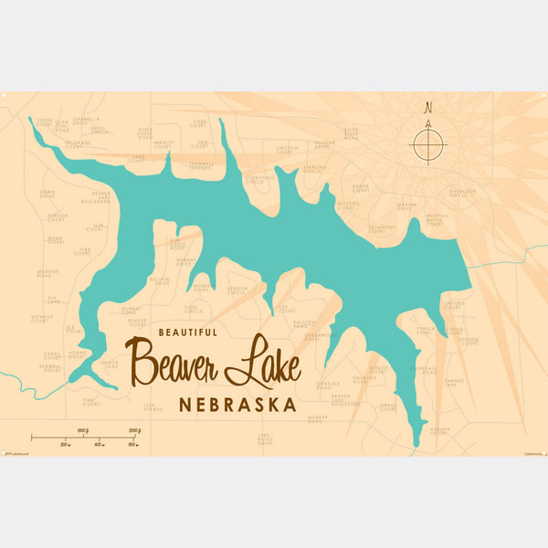 Beaver Lake Nebraska, Metal Sign Map Art