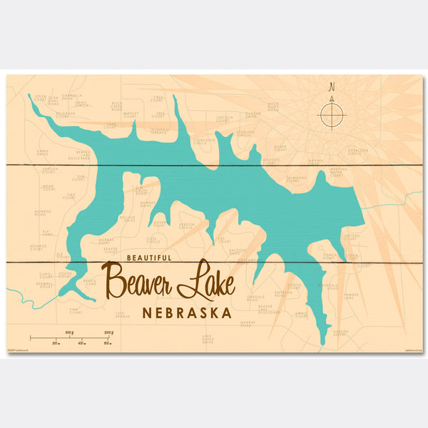 Beaver Lake Nebraska, Wood Sign Map Art