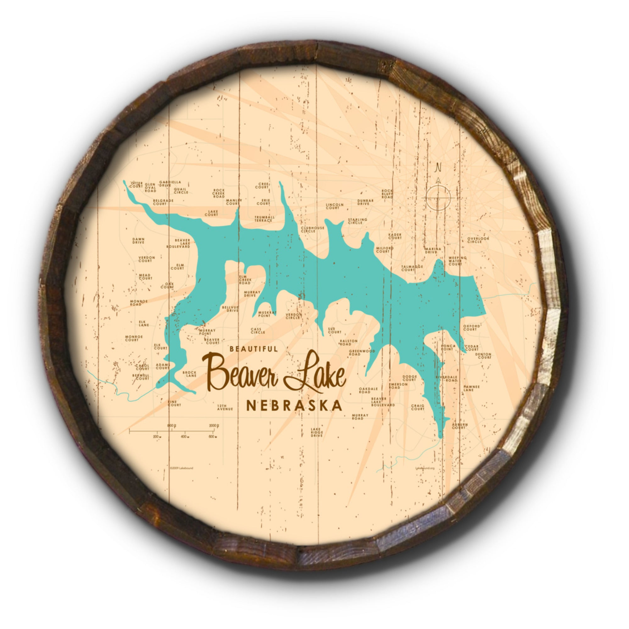 Beaver Lake Nebraska, Rustic Barrel End Map Art