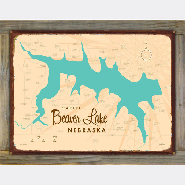 Beaver Lake Nebraska, Wood-Mounted Rustic Metal Sign Map Art