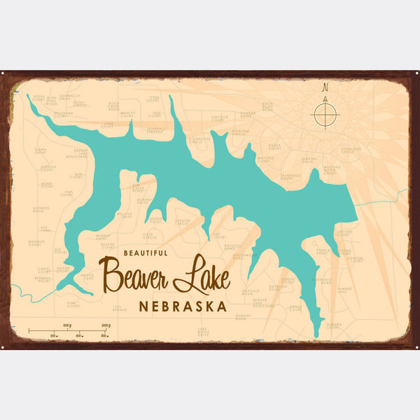 Beaver Lake Nebraska, Rustic Metal Sign Map Art