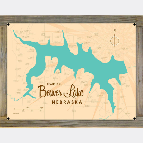Beaver Lake Nebraska, Wood-Mounted Metal Sign Map Art