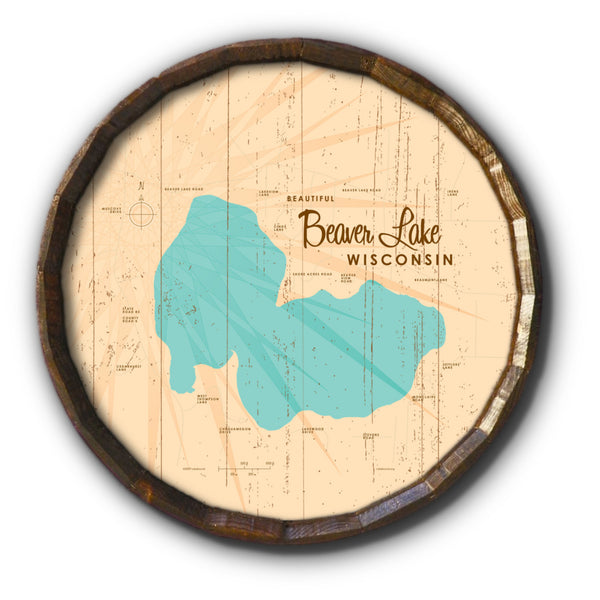 Beaver Lake Wisconsin, Rustic Barrel End Map Art