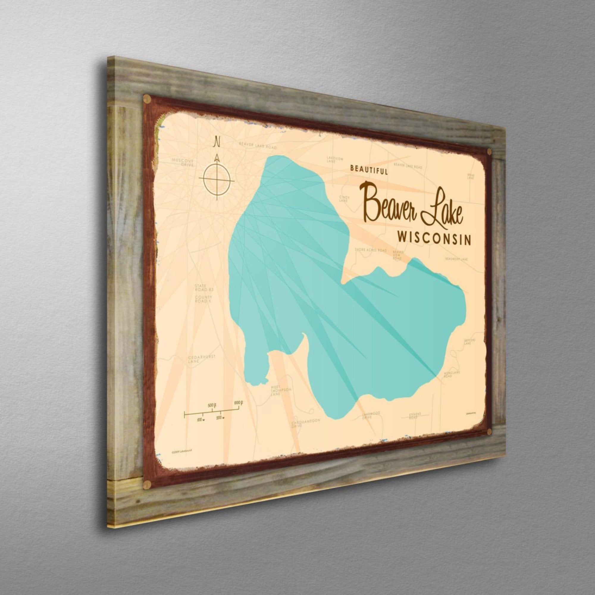 Beaver Lake Wisconsin, Wood-Mounted Rustic Metal Sign Map Art