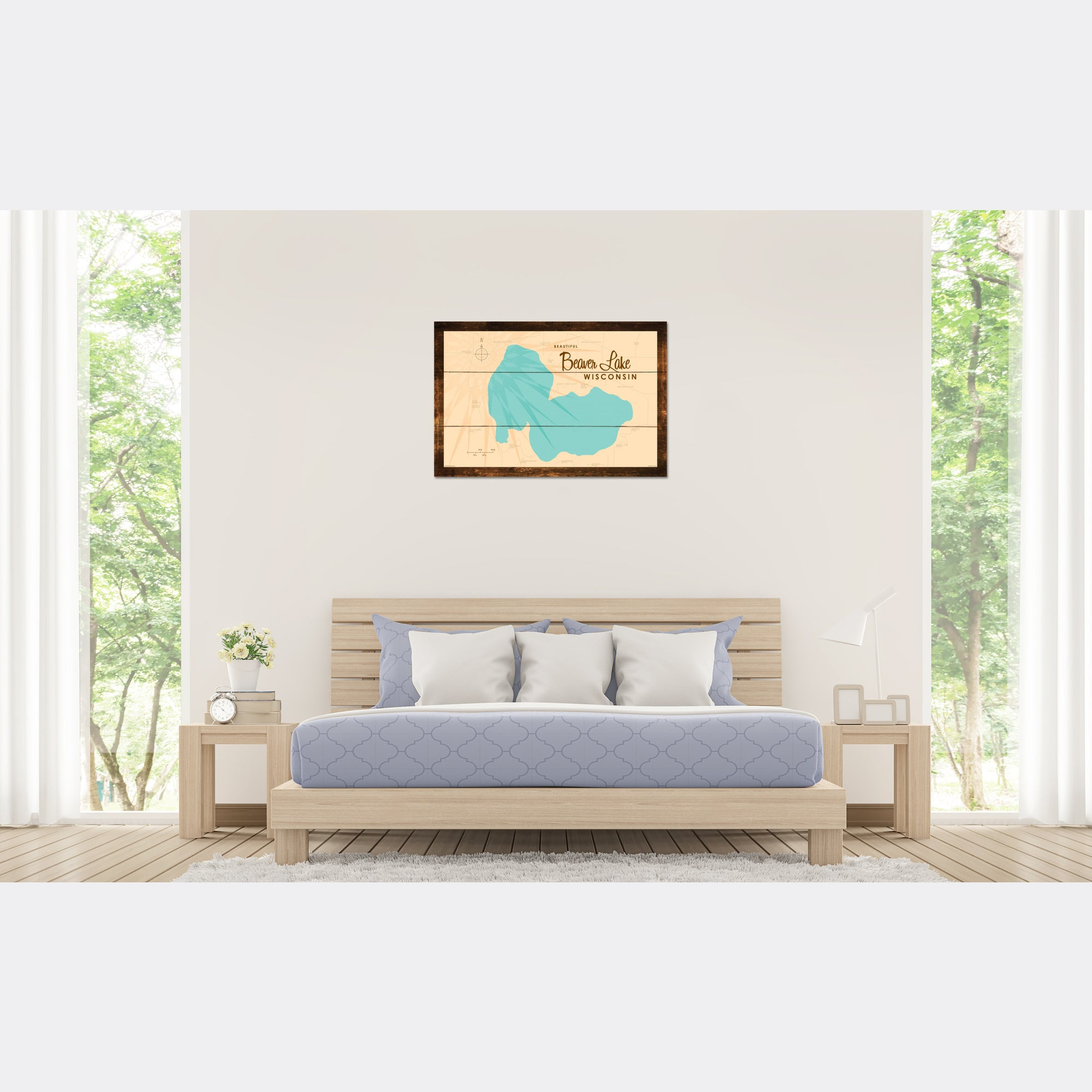 Beaver Lake Wisconsin, Rustic Wood Sign Map Art