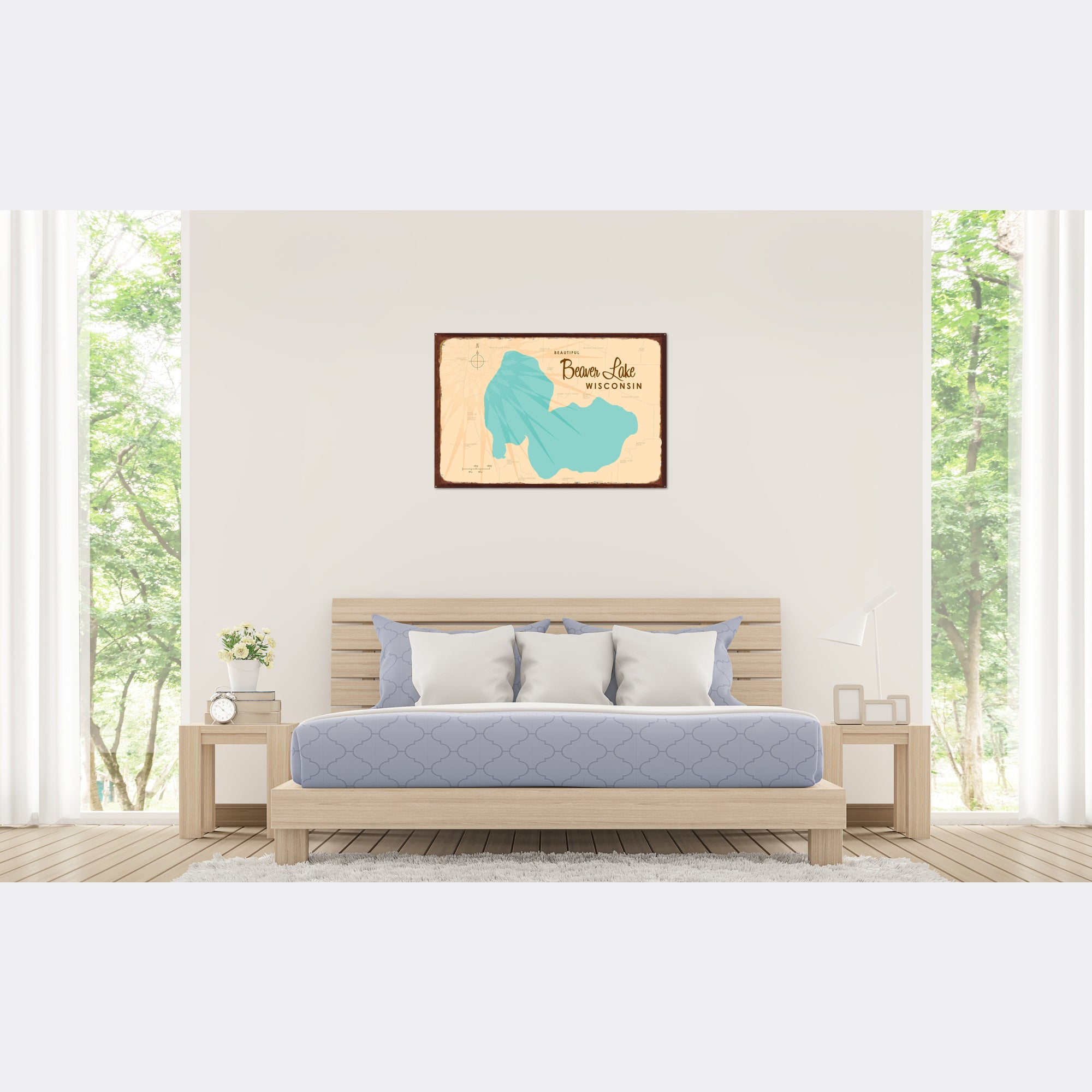 Beaver Lake Wisconsin, Rustic Metal Sign Map Art