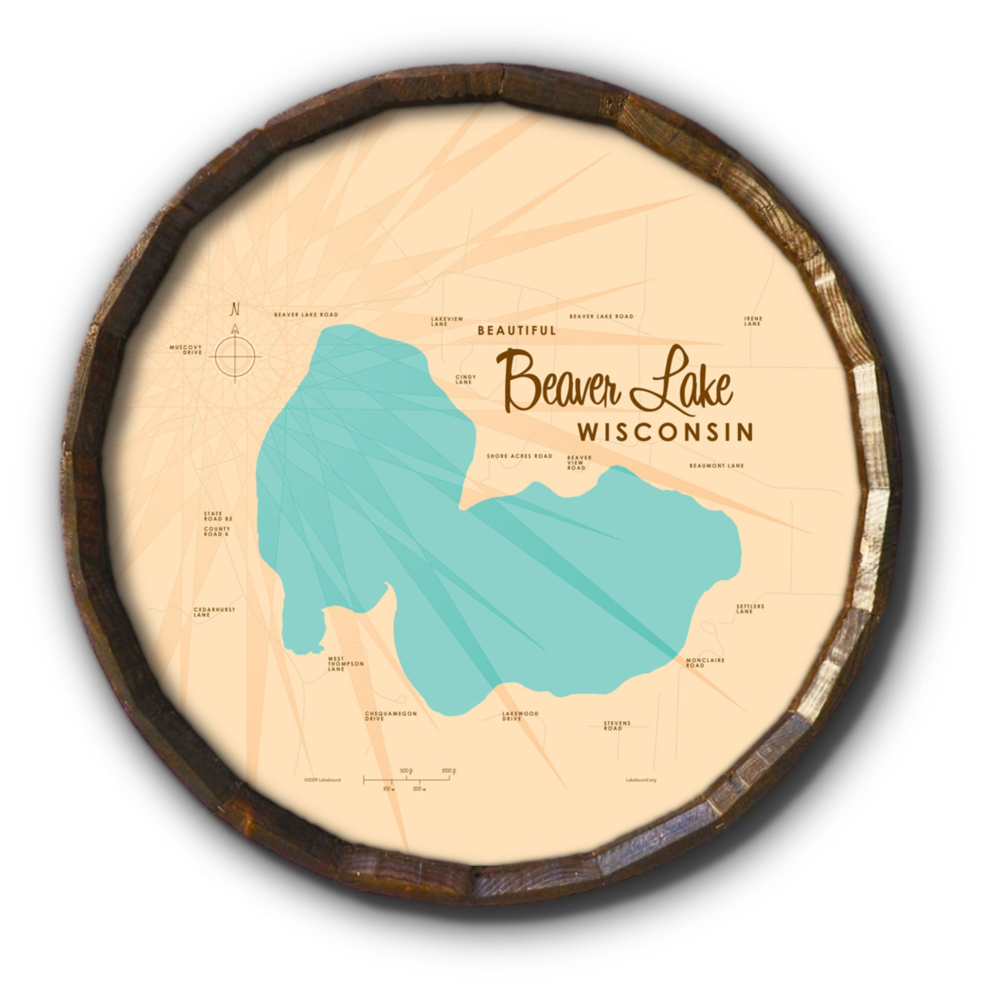 Beaver Lake Wisconsin, Barrel End Map Art