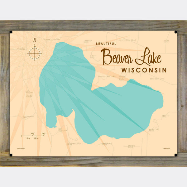 Beaver Lake Wisconsin, Wood-Mounted Metal Sign Map Art