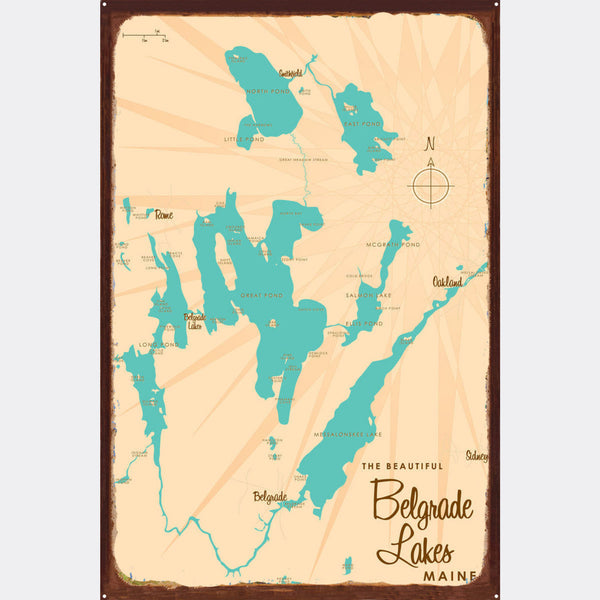 Belgrade Lakes Maine, Rustic Metal Sign Map Art