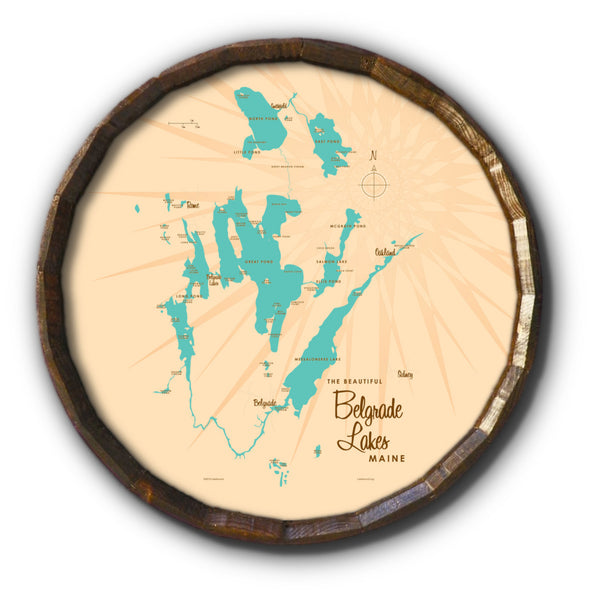 Belgrade Lakes Maine, Barrel End Map Art