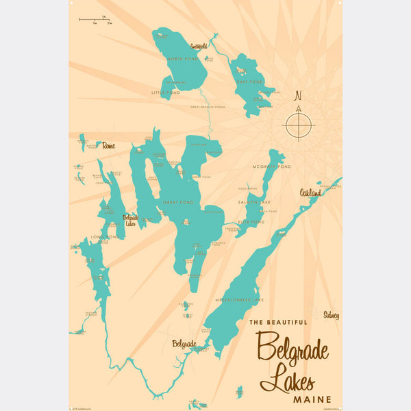 Belgrade Lakes Maine, Metal Sign Map Art