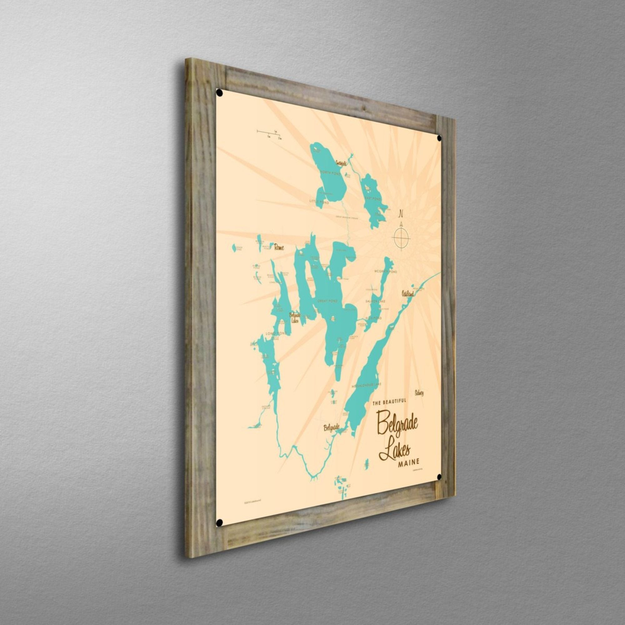 Belgrade Lakes Maine, Wood-Mounted Metal Sign Map Art