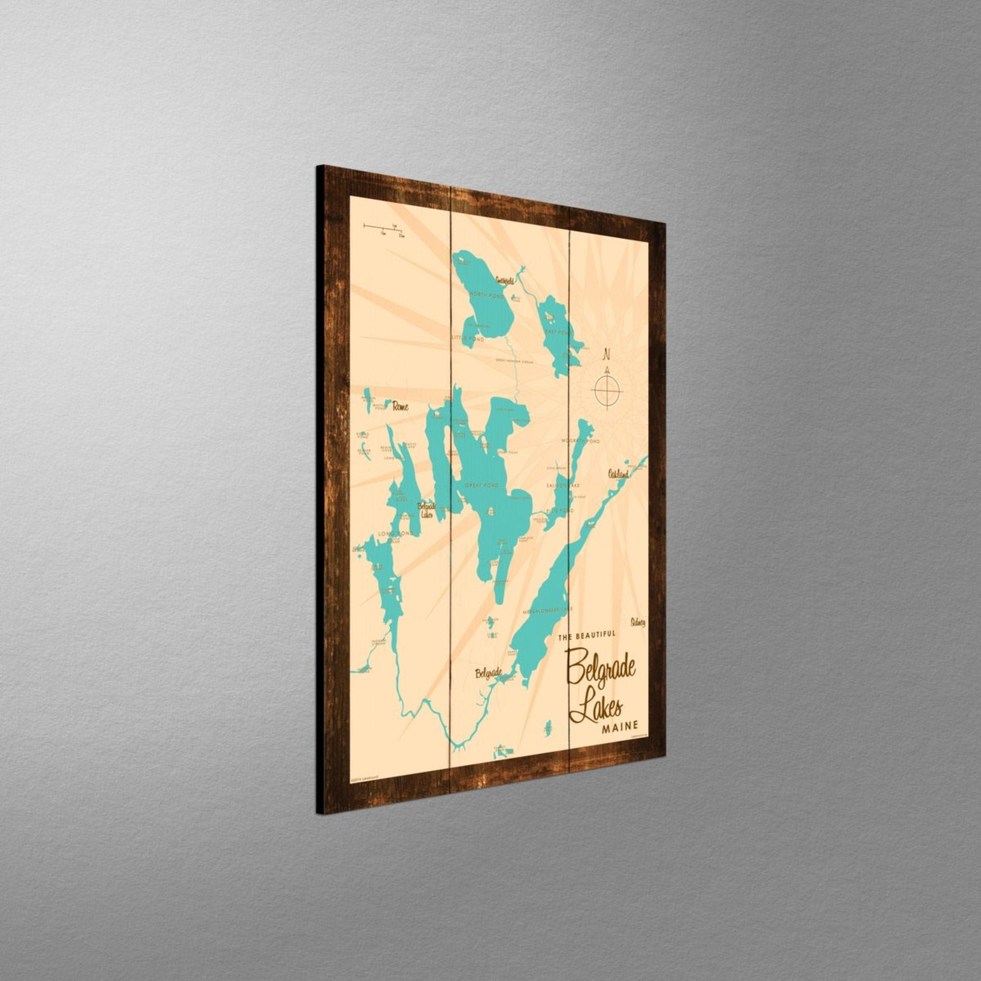 Belgrade Lakes Maine, Rustic Wood Sign Map Art