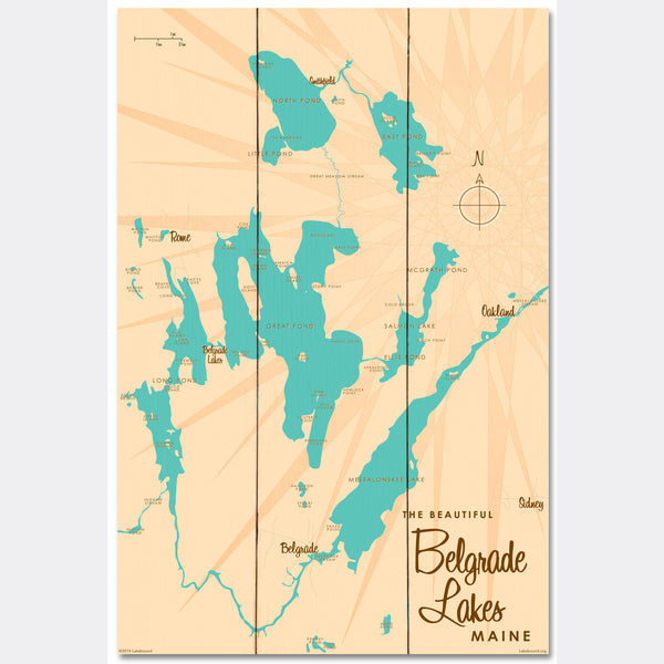 Belgrade Lakes Maine, Wood Sign Map Art