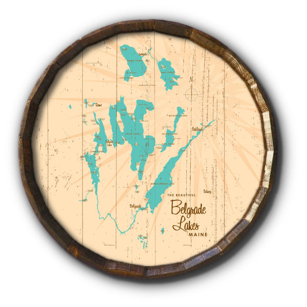 Belgrade Lakes Maine, Rustic Barrel End Map Art