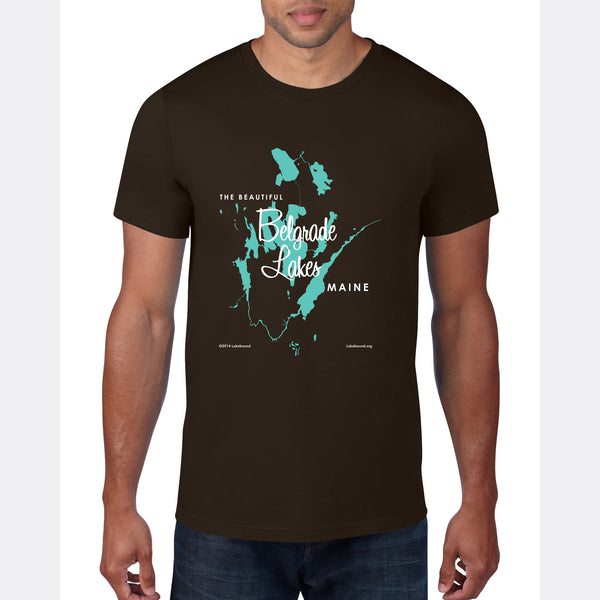 Belgrade Lakes Maine, T-Shirt Map Art