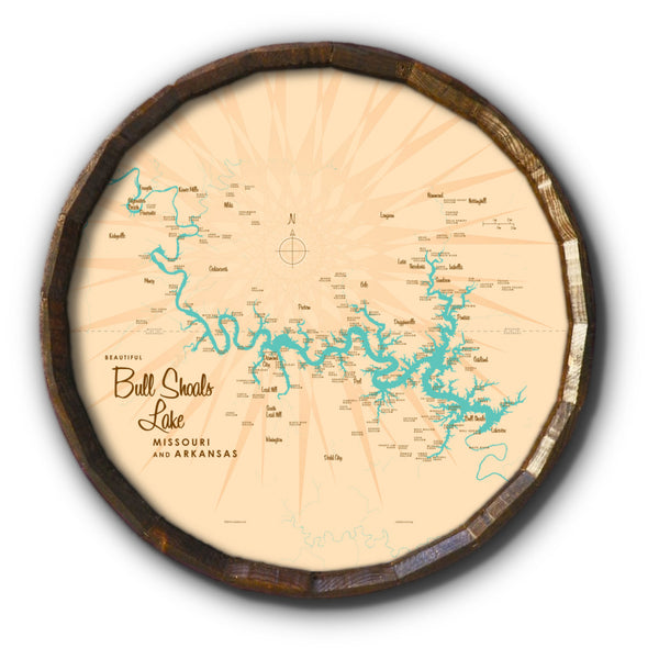 Bull Shoals Lake MO Arkansas, Barrel End Map Art