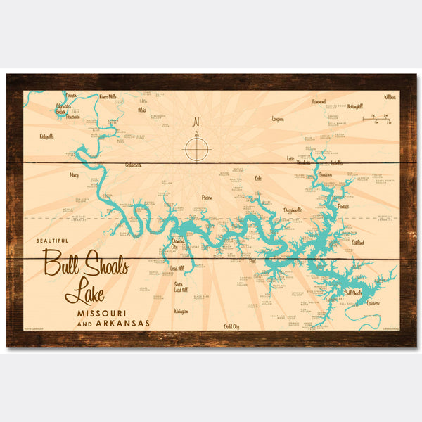 Bull Shoals Lake MO Arkansas, Rustic Wood Sign Map Art