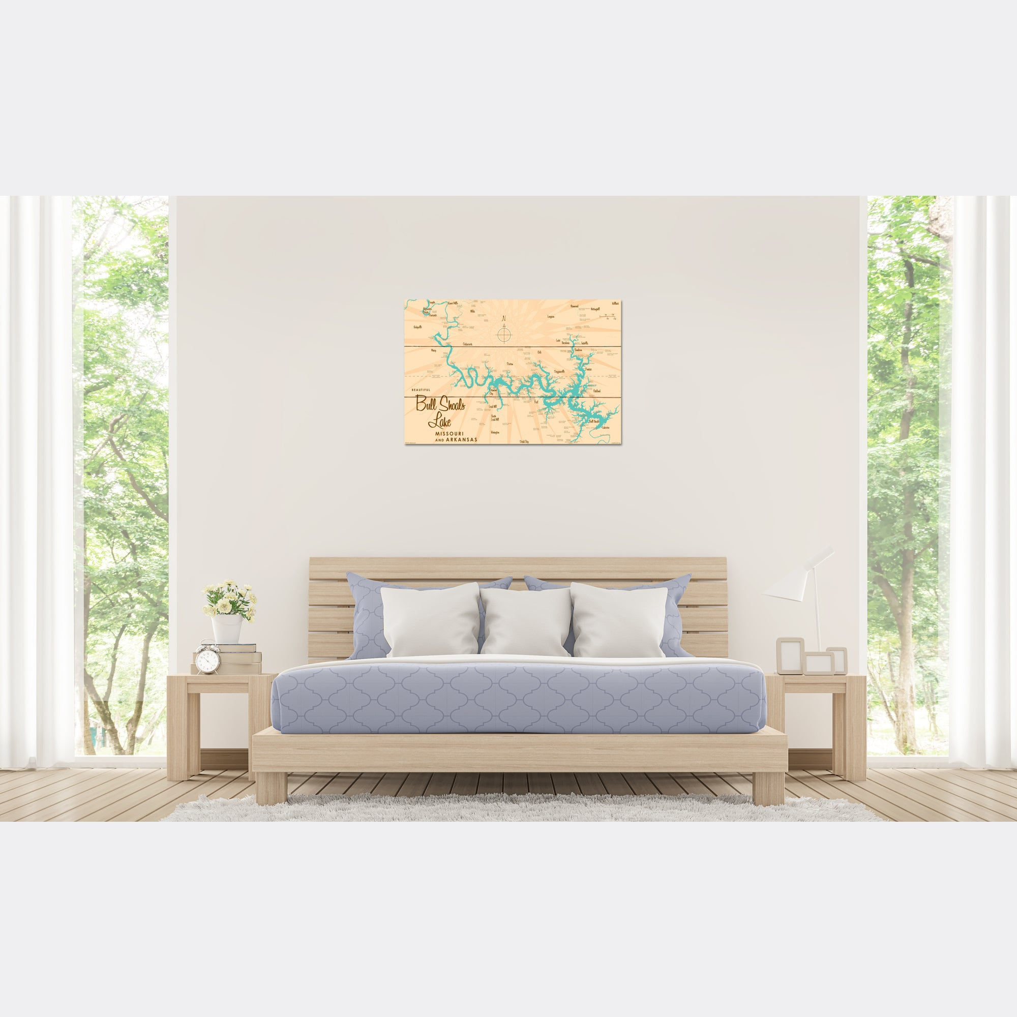 Bull Shoals Lake MO Arkansas, Wood Sign Map Art