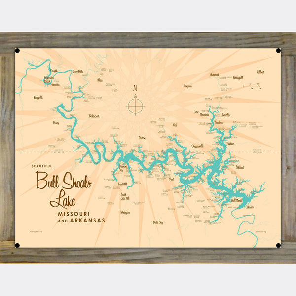 Bull Shoals Lake MO Arkansas, Wood-Mounted Metal Sign Map Art