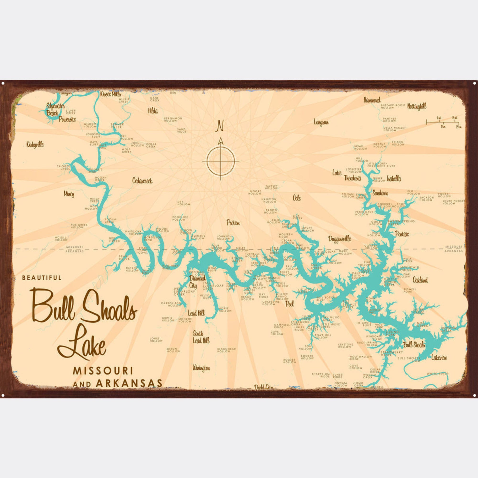 Bull Shoals Lake MO Arkansas, Rustic Metal Sign Map Art