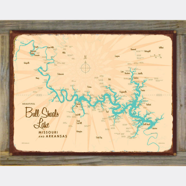 Bull Shoals Lake MO Arkansas, Wood-Mounted Rustic Metal Sign Map Art