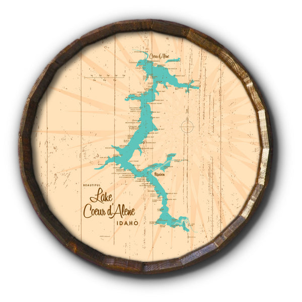 Coeur d'Alene Idaho, Rustic Barrel End Map Art