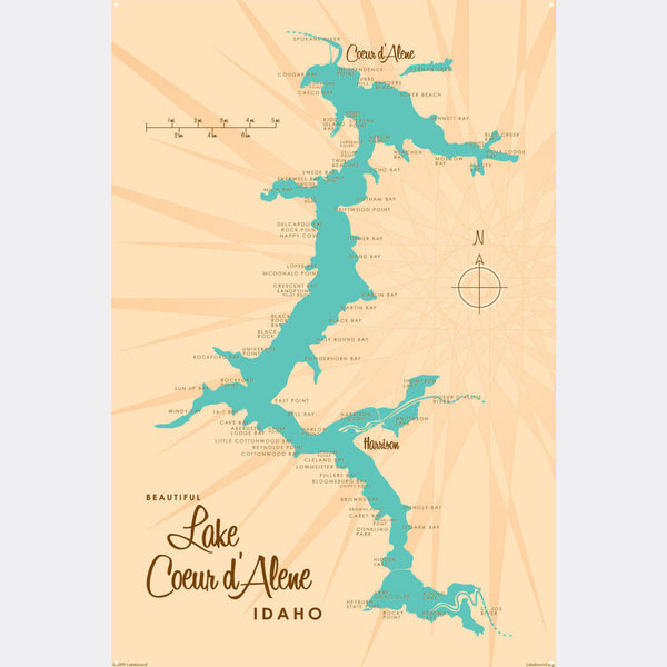 Coeur d'Alene Idaho, Metal Sign Map Art