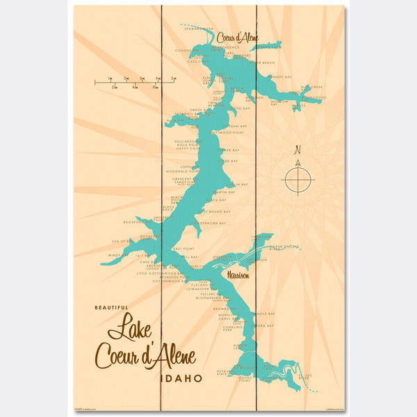 Coeur d'Alene Idaho, Wood Sign Map Art