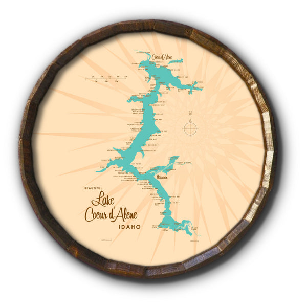 Coeur d'Alene Idaho, Barrel End Map Art