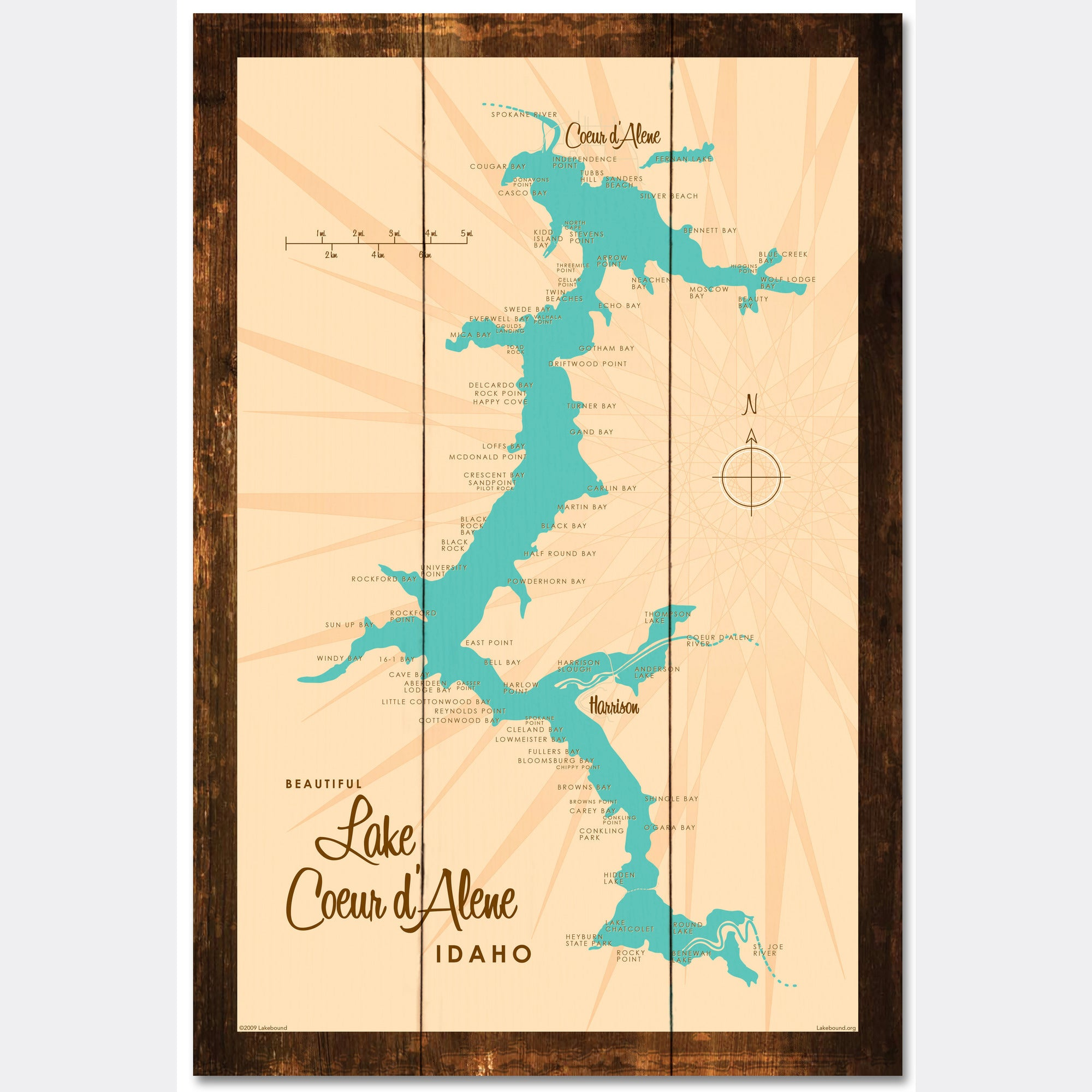Coeur d'Alene Idaho, Rustic Wood Sign Map Art