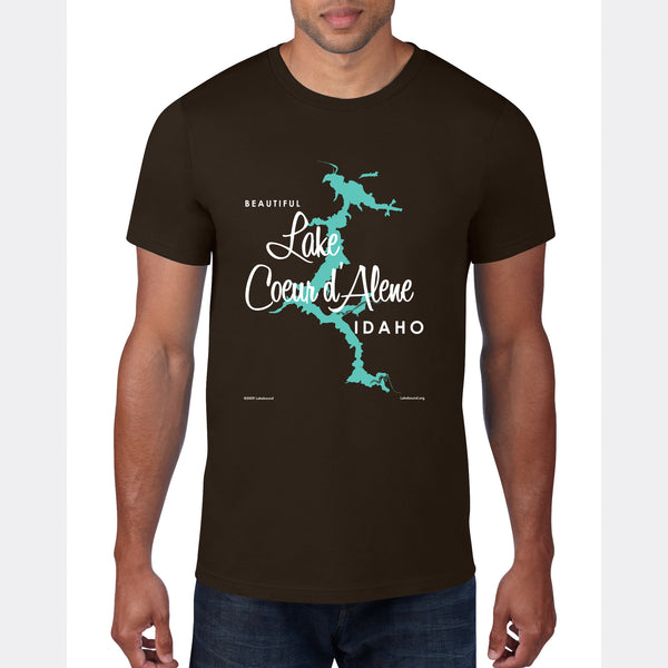 Coeur d'Alene Idaho, T-Shirt Map Art