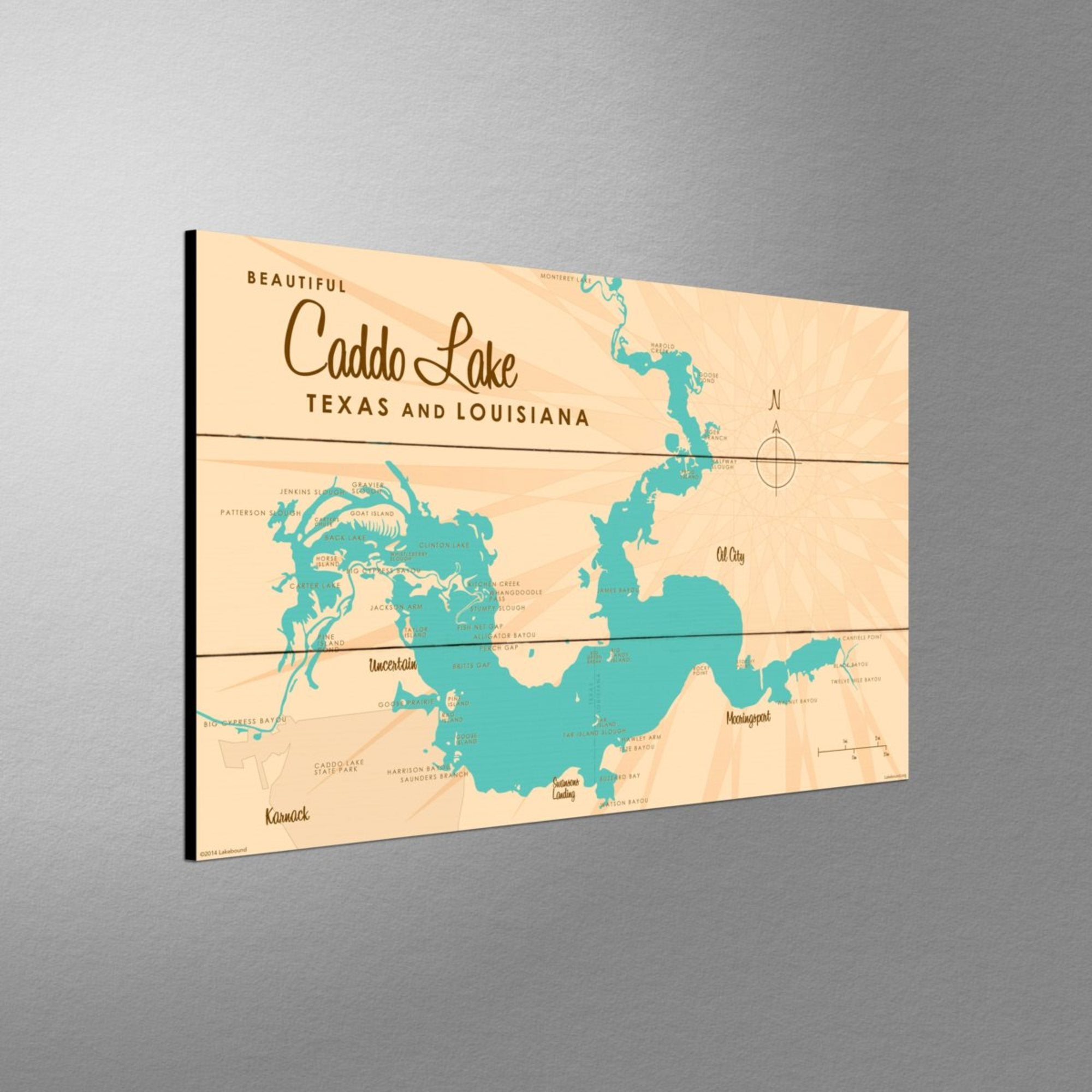 Caddo Lake TX Louisiana, Wood Sign Map Art