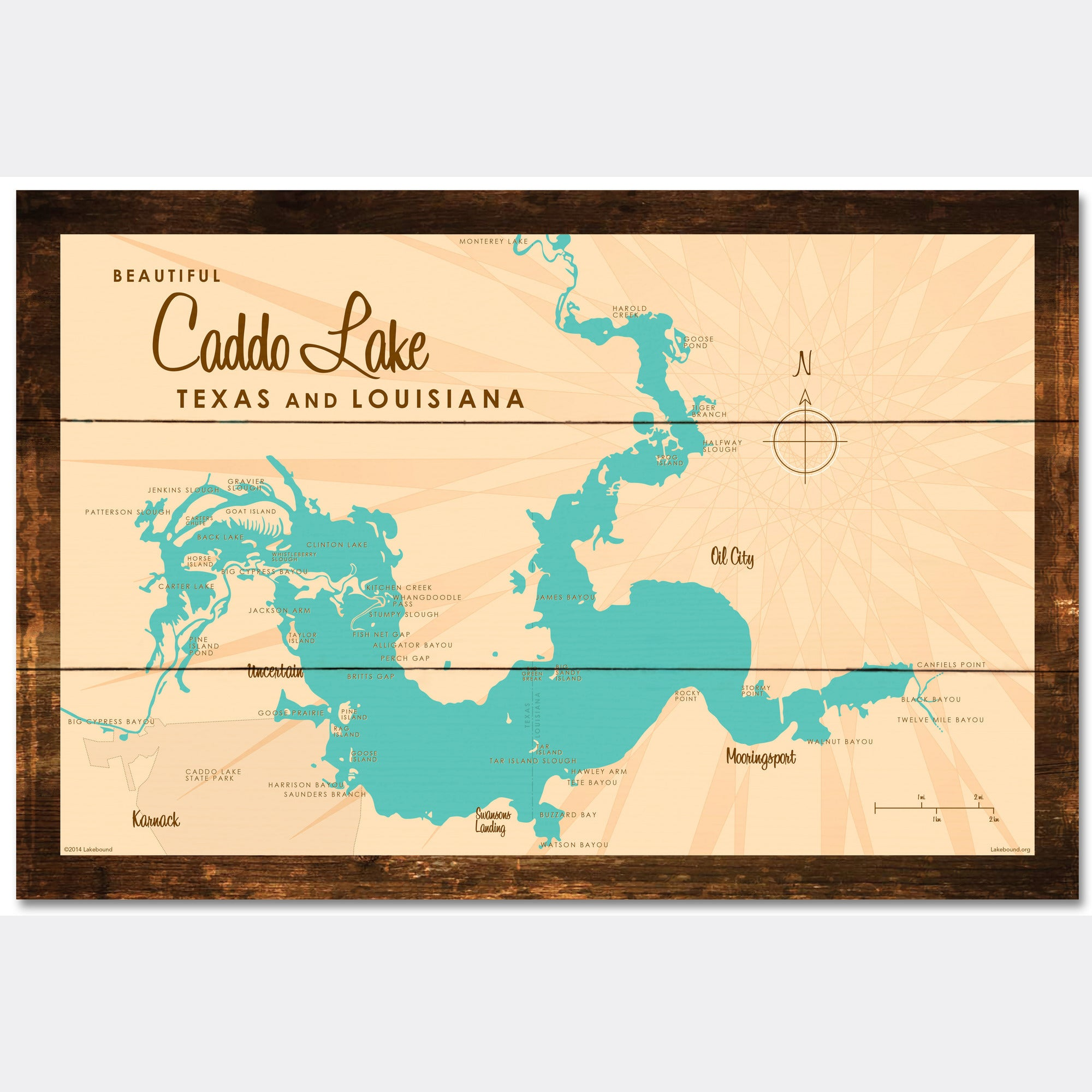 Caddo Lake TX Louisiana, Rustic Wood Sign Map Art