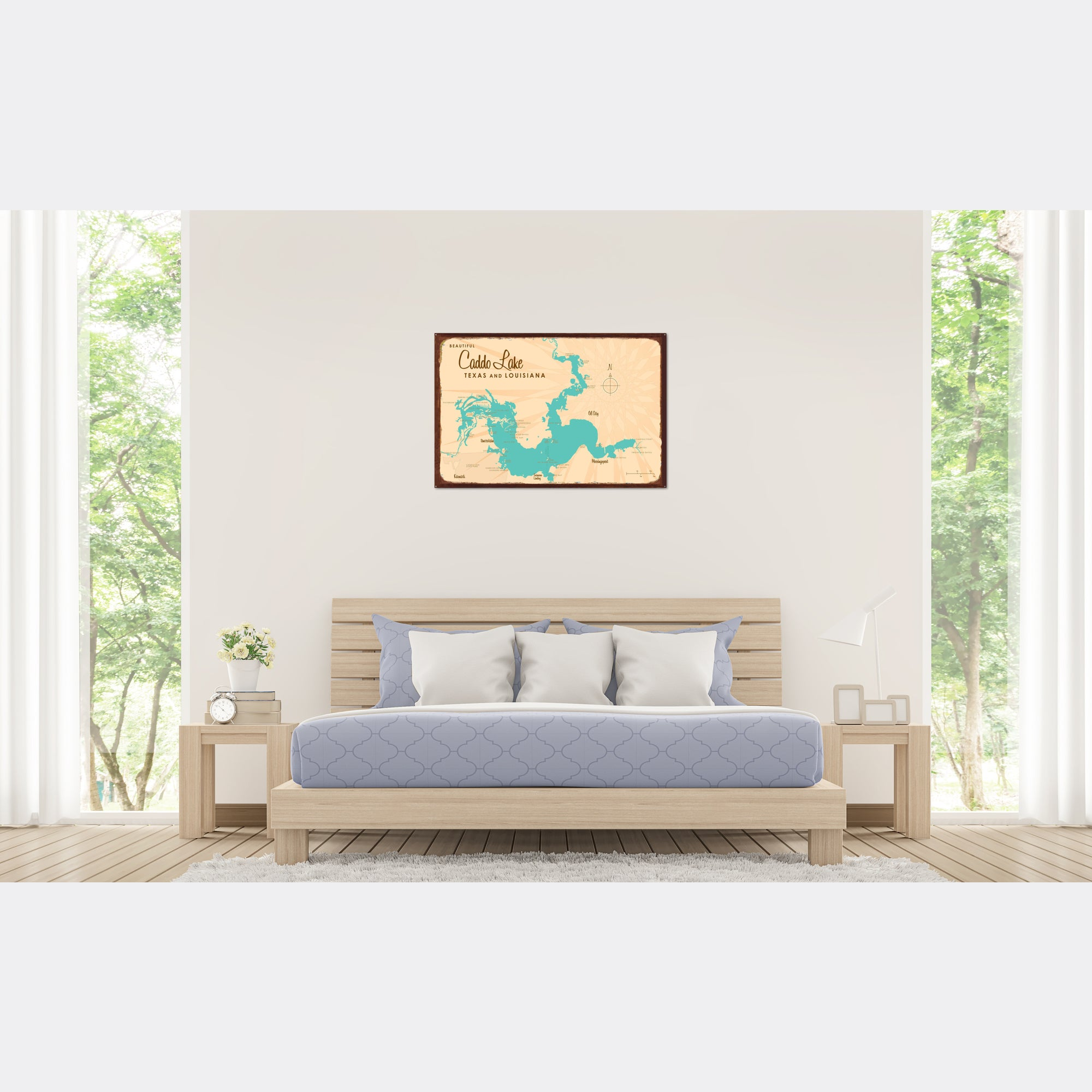 Caddo Lake TX Louisiana, Rustic Metal Sign Map Art