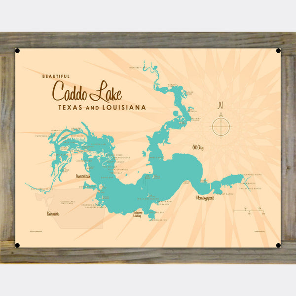 Caddo Lake TX Louisiana, Wood-Mounted Metal Sign Map Art