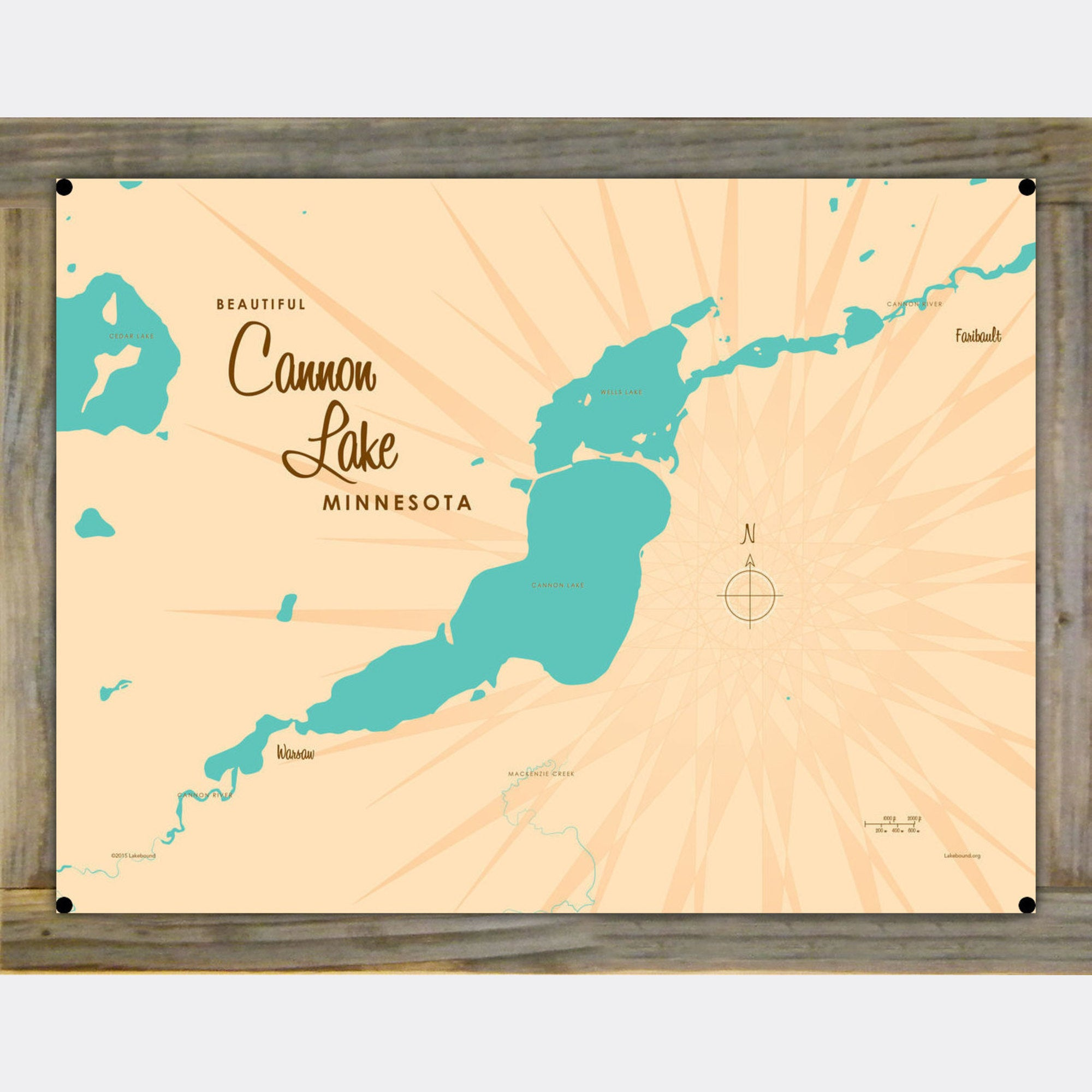 Cannon Lake Minnesota, Wood-Mounted Metal Sign Map Art