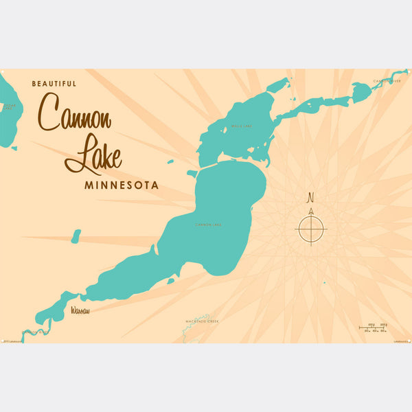 Cannon Lake Minnesota, Metal Sign Map Art