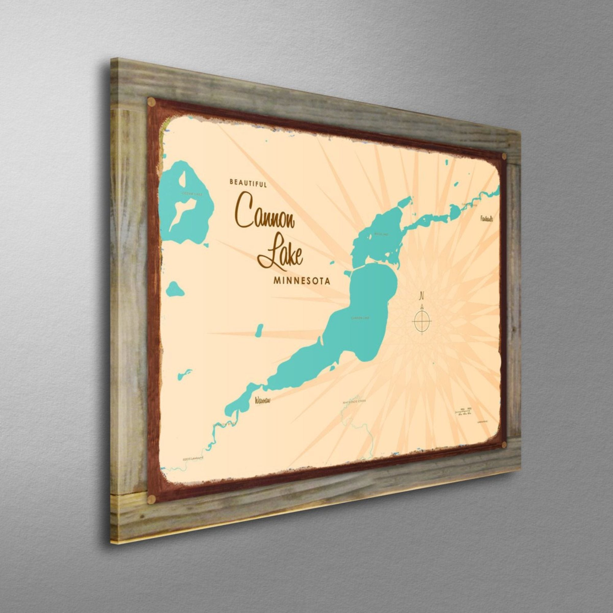 Cannon Lake Minnesota, Wood-Mounted Rustic Metal Sign Map Art