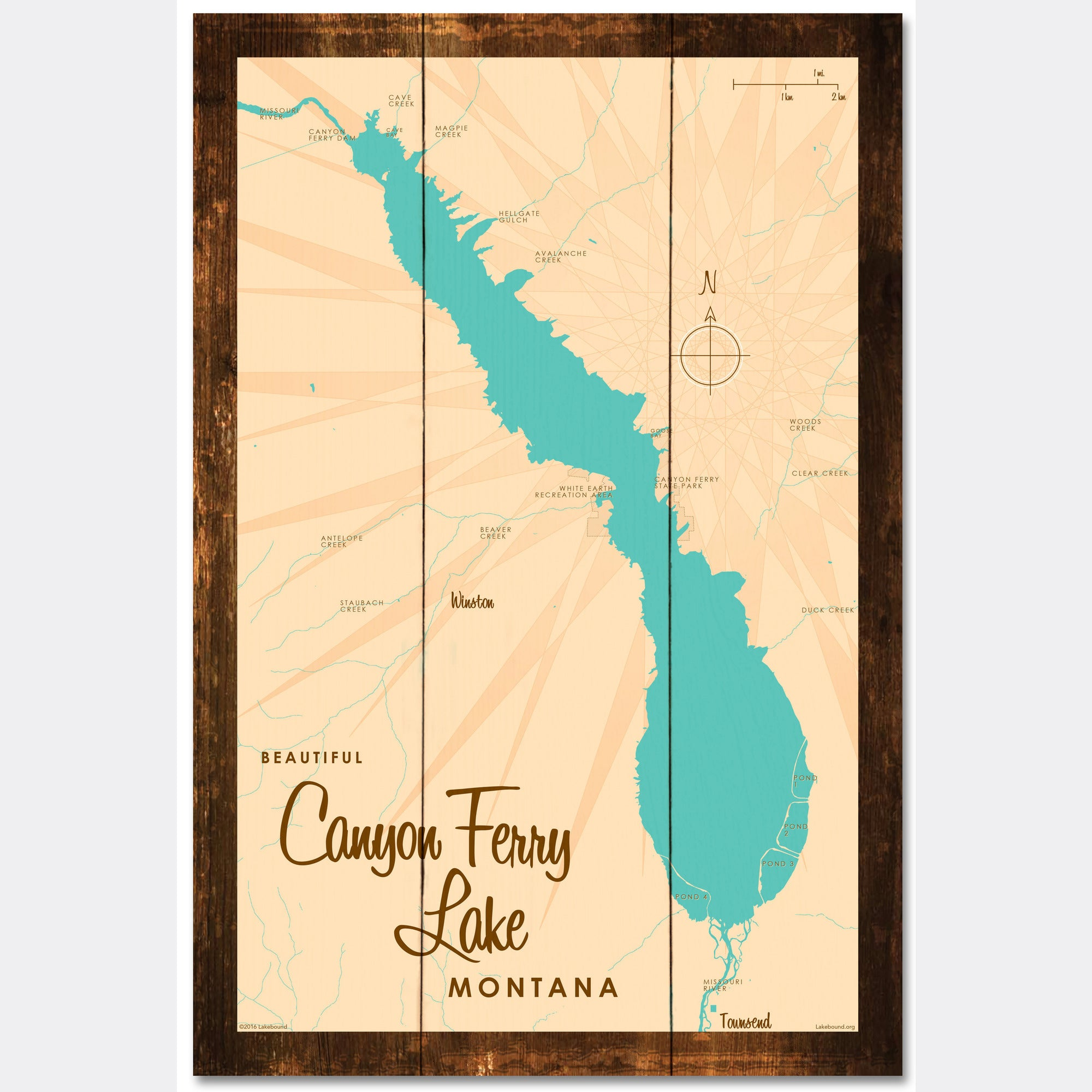 Canyon Ferry Lake Montana, Rustic Wood Sign Map Art