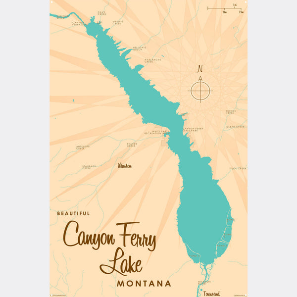 Canyon Ferry Lake Montana, Metal Sign Map Art