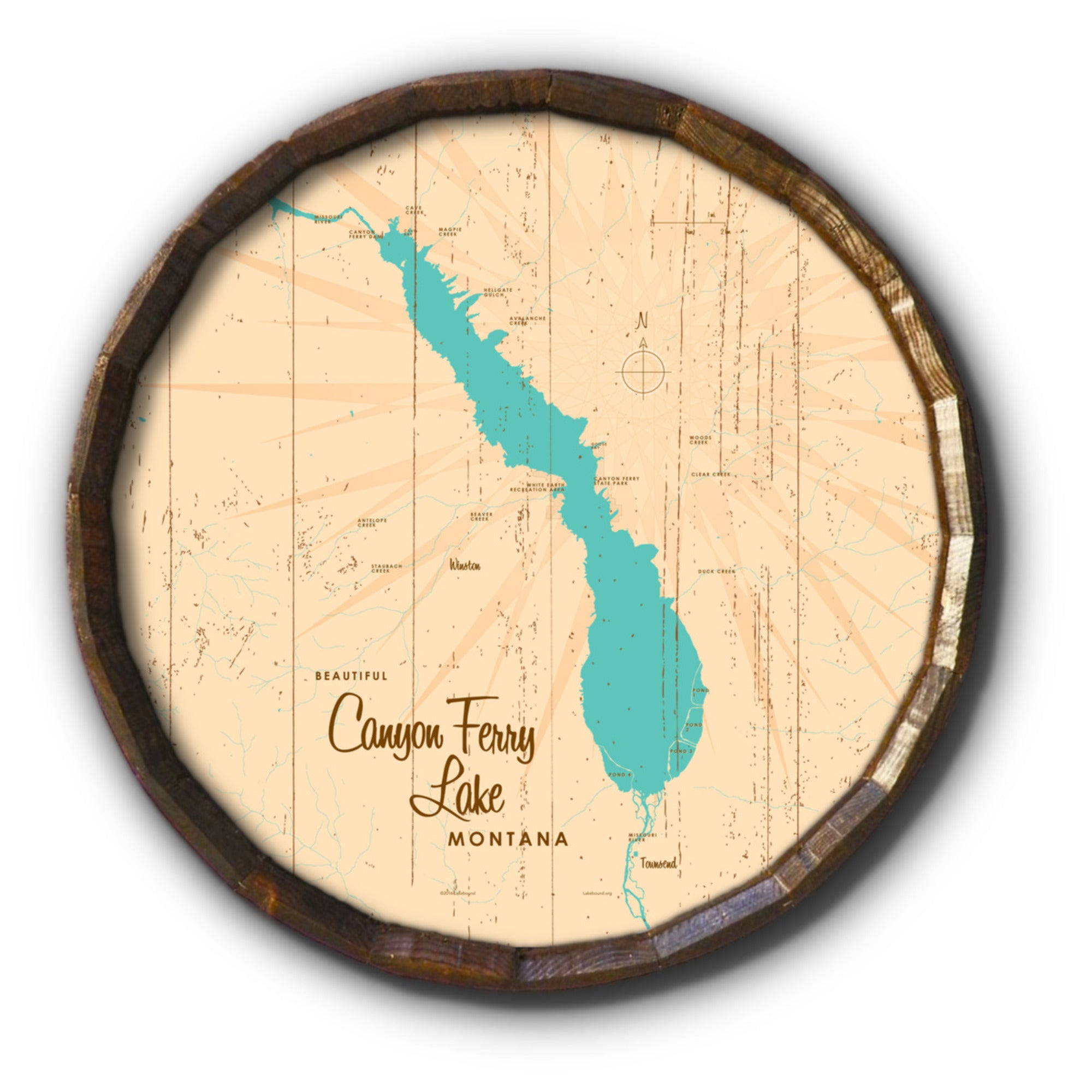 Canyon Ferry Lake Montana, Rustic Barrel End Map Art