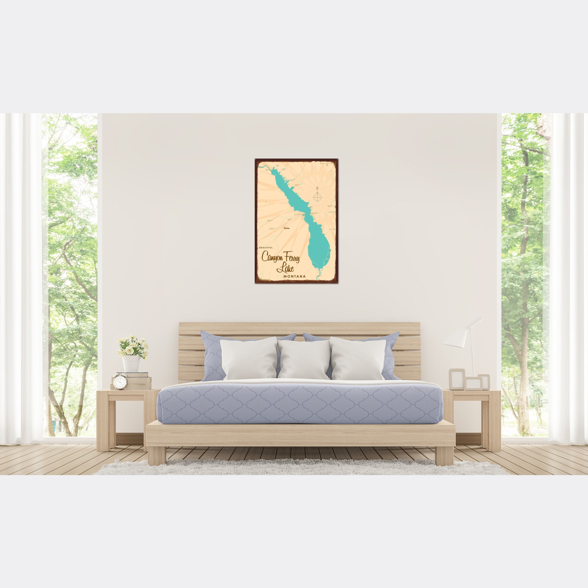 Canyon Ferry Lake Montana, Rustic Metal Sign Map Art
