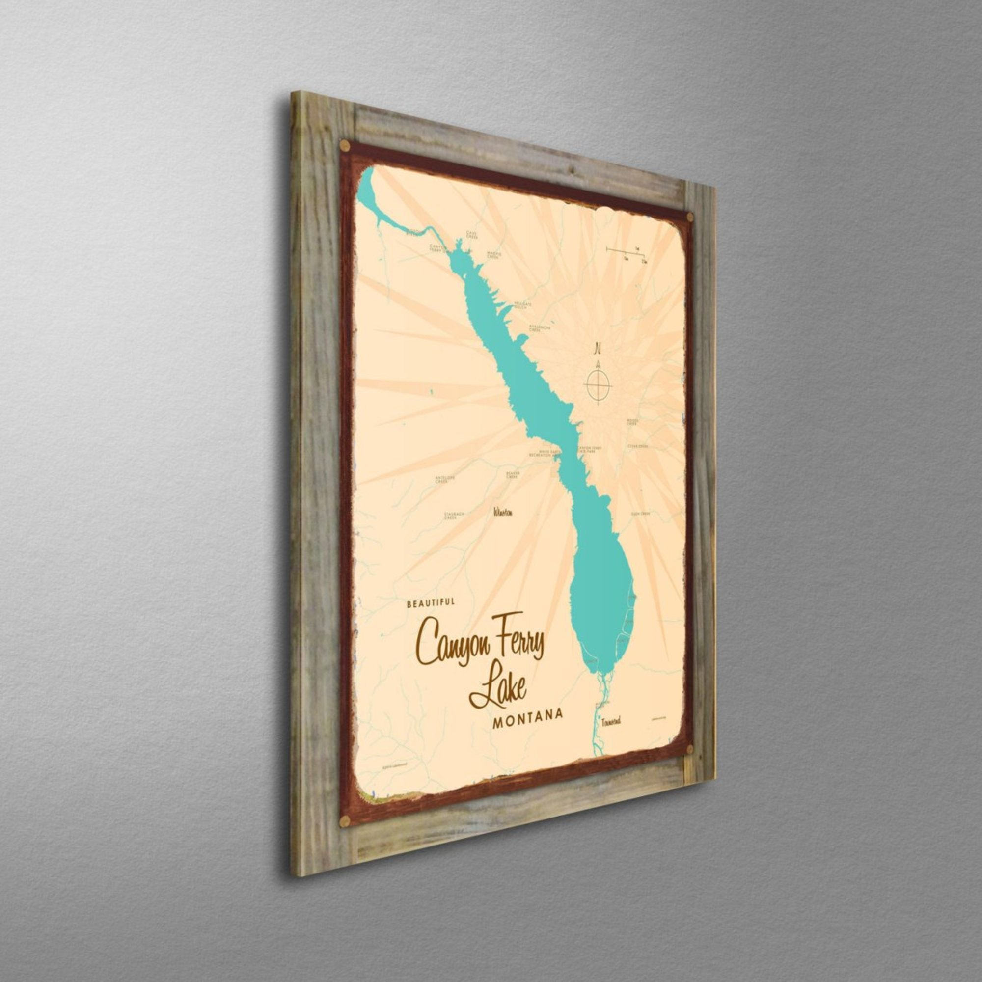 Canyon Ferry Lake Montana, Wood-Mounted Rustic Metal Sign Map Art