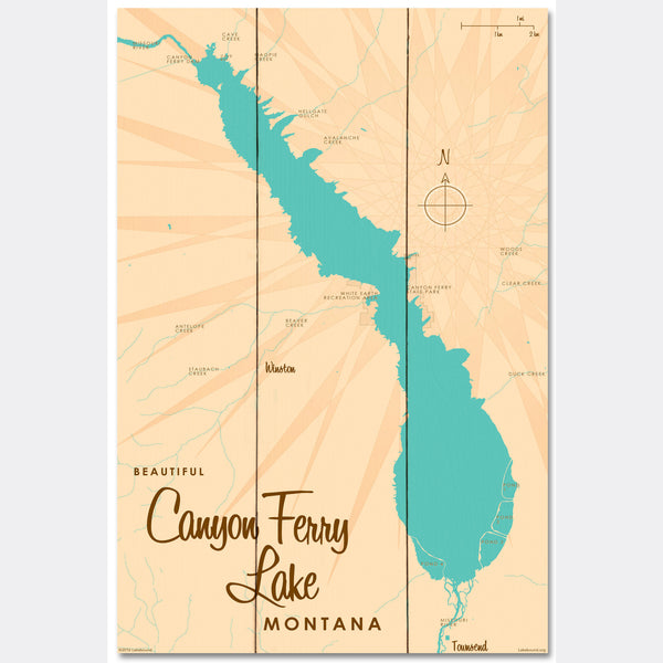 Canyon Ferry Lake Montana, Wood Sign Map Art