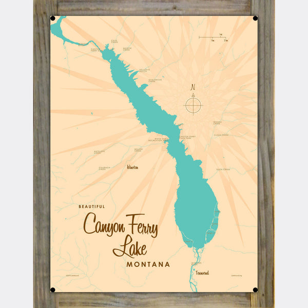 Canyon Ferry Lake Montana, Wood-Mounted Metal Sign Map Art